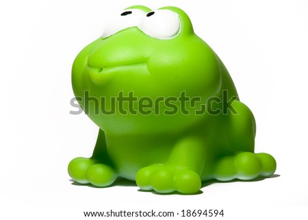 green toy frog - stock photo