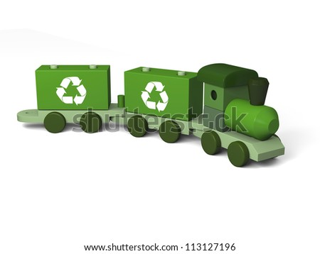 Green toy train with recycling symbols, concept of environmental protection as part of early children education, isolated on white background