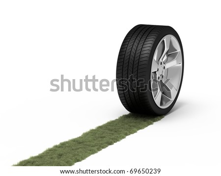 Green trace from a wheel. Ecological concept.