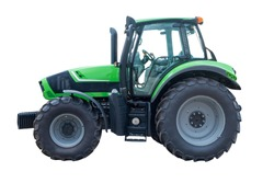 Green tractor isolated on white background