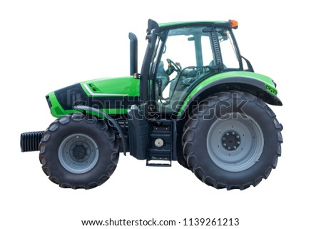Green tractor isolated on white background  #1139261213