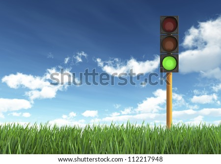 Green Traffic Light against Blue Sky Background
