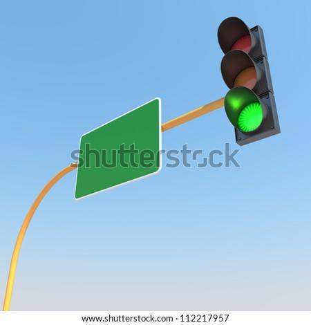Green Traffic Light against Blue Sky Background