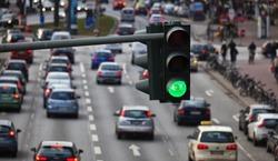 Green traffic light, big city traffic