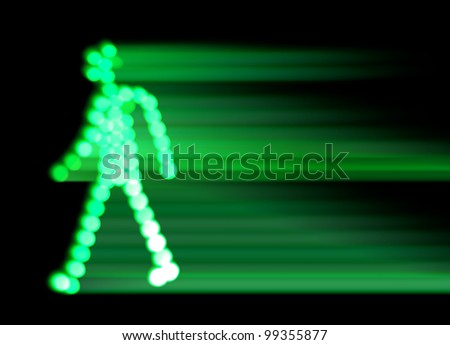 green traffic light walking man