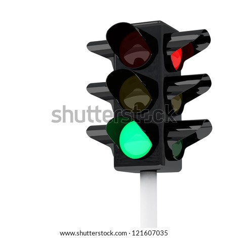 Green traffic lights, 3d