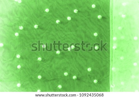 green translucent fabric, embroidered with beads. Perfect for your design, Do not miss the chance to purchase a piece of this glamorous couture material, #1092435068