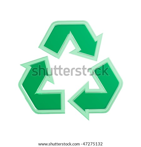 Green translucent recycling sign 3D illustration isolated on white background
