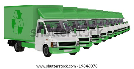 stock photo : Green Transportation. 3D Illustration of a fleet of delivery vans.