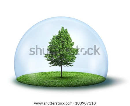 Green tree and grass in glass cupola, environment concept - stock photo