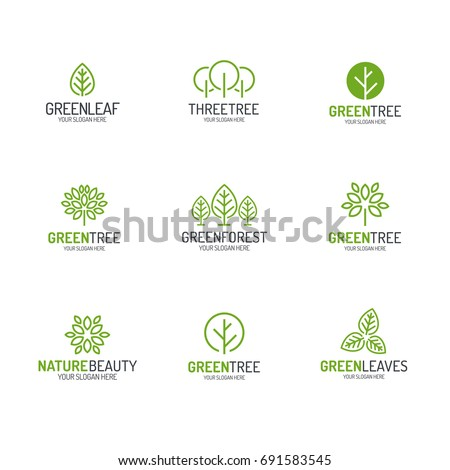 Green tree and leaves logo set line style for natural product store, organic shop, ecology company, nature firm, alternative medicine, green unity, garden, farming, forest etc.