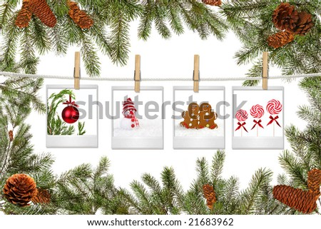 Green Tree Branches and Film Blanks With Christmas Pictures on White Background