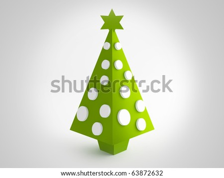 Green tree for christmas greetings card