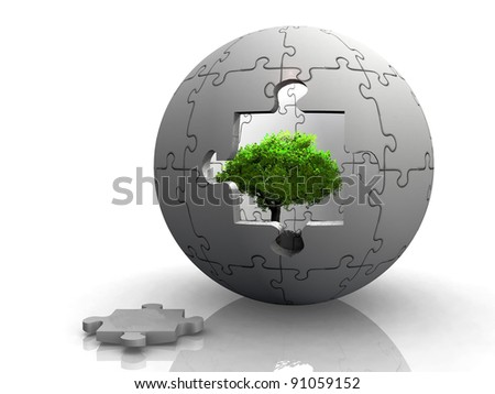 green tree in a puzzle bubble