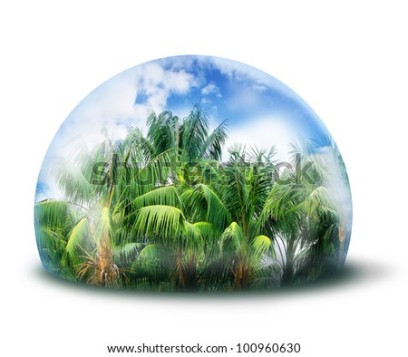 Green tree in glass cupola, environmental concept