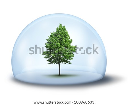 Green tree in glass cupola, environmental concept - stock photo