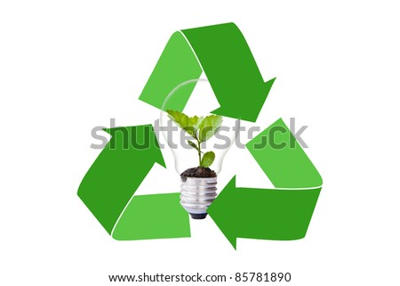 Green tree in light bulb protected by reclycle logo - stock photo