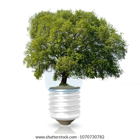 green tree lamp electricity ecology isolated #1070730782