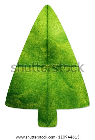 Green tree made by recycled paper craft on white background