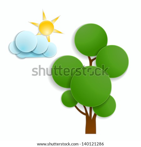 green tree with cloud and sun