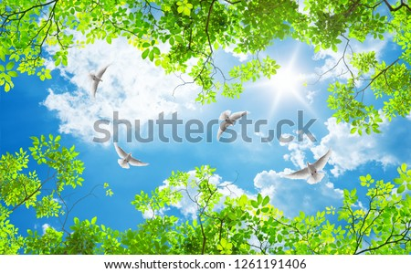green trees and doves on a sunny day #1261191406