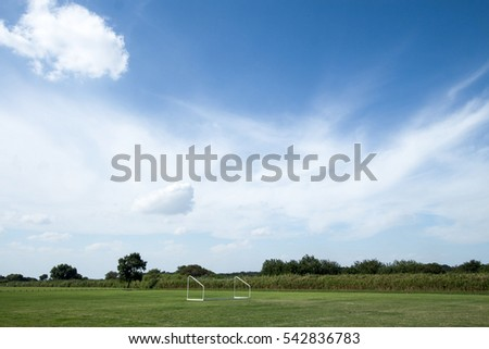 Green trees in beautiful park over blue sky #542836783