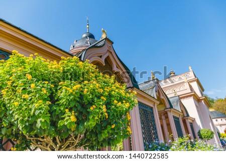 Green trees in summer park. Flowering Lantana Plant in the Park. Pink Mosque in Schwetzingen Palace garden, Baden Wuerttemberg, Germany