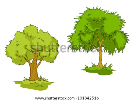 Green trees with grass isolated on white background. Vector version also available in gallery