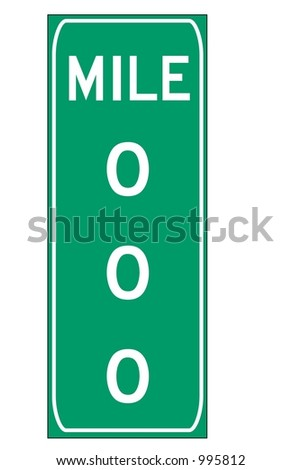 Green triple digit mileage sign isolated on a white background