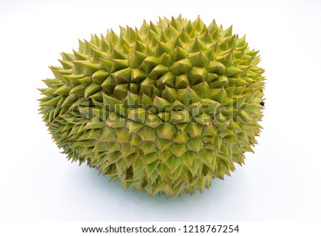 Green tropical fruit durian on white background. King of fruits durian isolated. Exotic fruit durian studio photo. Thailand delicatessen. Spiky peel and sweet flesh of tropical fruit. Thai sweet food