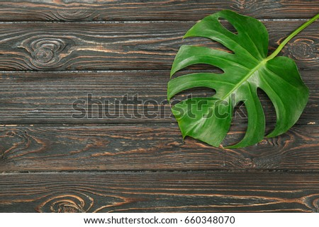 Green tropical leaf on wooden background - Shutterstock ID 660348070