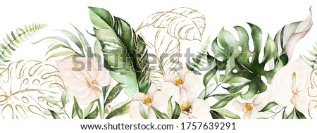 Green tropical leaves and blush flowers on white background. Watercolor hand painted seamless border. Floral tropic illustration. Jungle foliage pattern.