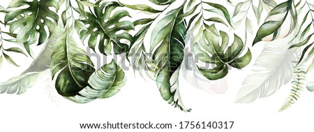 Green tropical leaves on white background. Watercolor hand painted seamless border. Floral tropic illustration. Jungle foliage pattern.