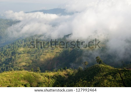 mountain cover with clouds