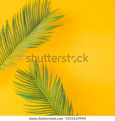 Green tropical palm leaves on bright yellow background. Minimal summer concept. Creative flat lay.