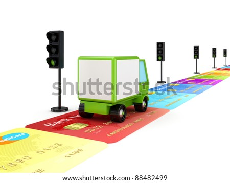 Green truck driving on a road made of colorful credit cards.Isolated on white.3d rendered.