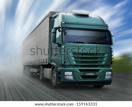 Green Truck on Highway