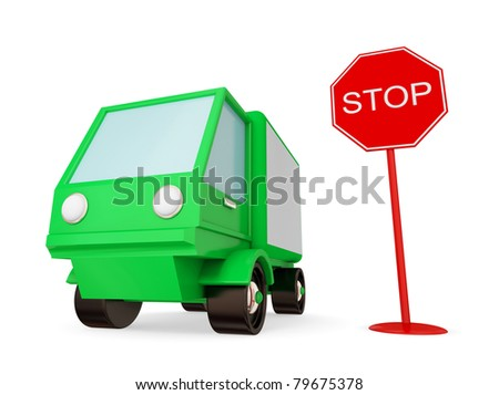 Green truck with STOP sign. Isolated on white. 3d rendered.
