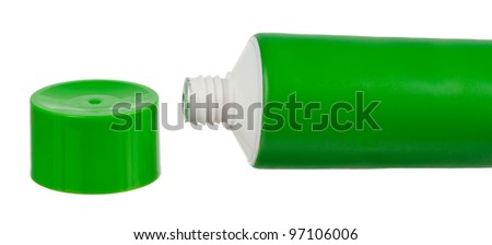 Green tube with cream. Sealed tube without cap. Objects is isolated on white background without shadows.