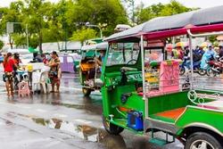 Green Tuk Tuk, Thai traditional taxi at in Bangkok Thailand.