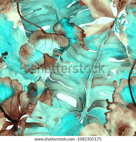 Green Turquoise Exotic pattern. Watercolor tropic leaves. Palm and Hibiscus plants in seamless pattern. Summer hawaiian watercolor background.