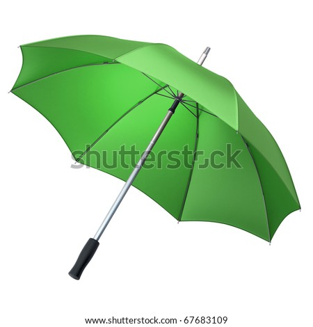 green umbrella (clipping path)