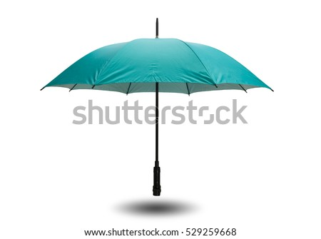 Green umbrella isolated on white background with clipping path.