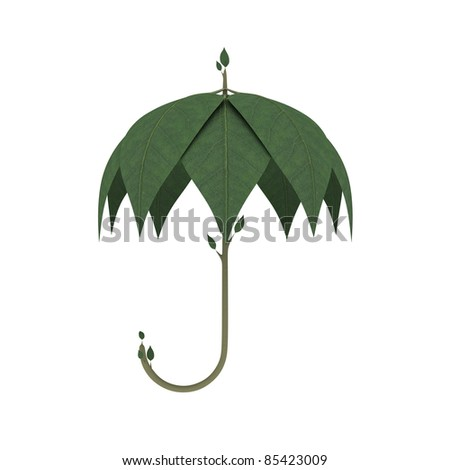 Green Umbrella made of spring leaves isolated over white background. Go green ecology concept. Environmental concept. High quality render.