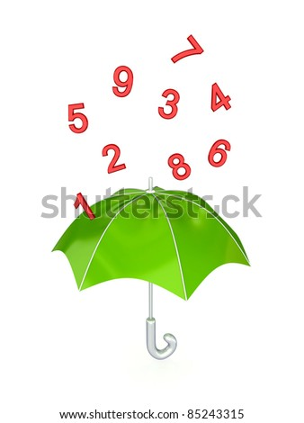 Green umbrella under the rain of red numbers. Isolated on white background.