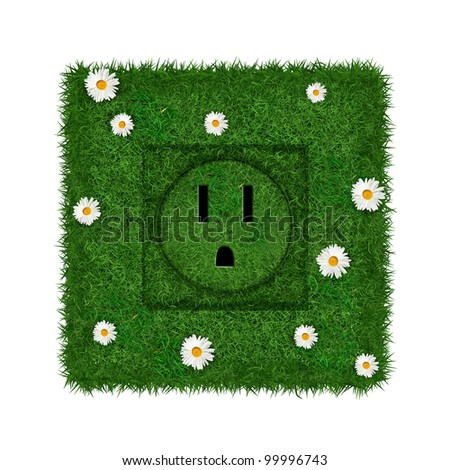 Green US socket covered with grass and flowers