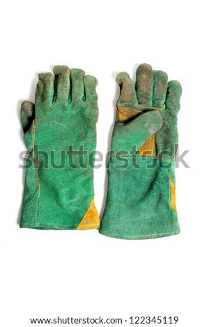 green used safety welding gloves on white background
