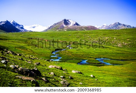 Green valley in the mountains. Mountain green valley. Mountain valley landscape