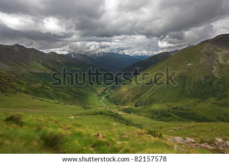 Green Valley. Panorama by the top of Viso Valley. Brixia province, Lombardy region, Italy