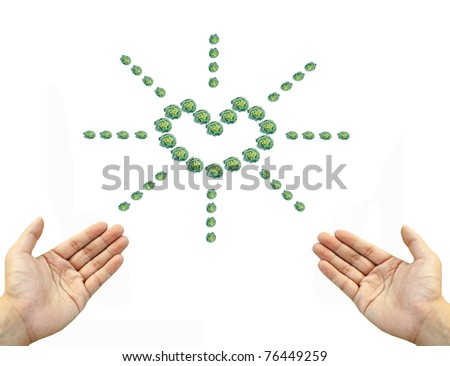 Green vegetable heart sun sign with hands